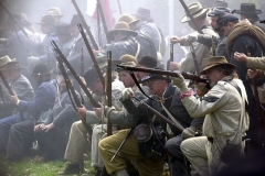 The Confederate army fires at the Union at the Civil War encampment on saturday.