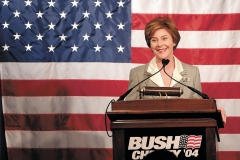 First Lady Laura Bush speaks to supporters at the Clintonville Women's Club during a campaign stop for her husband, President George Bush, on Tuesday, September 14.