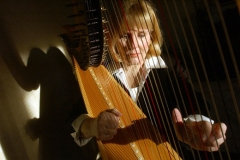 Karen Westgate plays her classic Wurlitzer pedal harp at her home in Sandusky. Photo Ben French