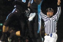 Robbie Anquini (left) and teammate Jeremy Ball celebrate a Darby touchdown.
