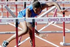 Brittany Cheese of Hilliard Davidson stumbles over a hurdle during the 100 yard hurdles at the state track meet on Friday at Jesse Owens Memorial Stadium.